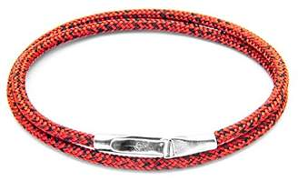 ANCHOR & CREW Unisex's Red Noir Liverpool Silver and Rope Bracelet of Length 21cm