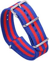 AUTULET Blue/Red Luxury Exquisite Men's One-Piece Nato style Soft Nylon Perlon Watch Bands Straps
