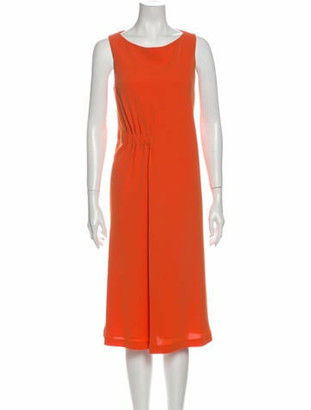 Lafayette 148 Scoop Neck Midi Length Dress w/ Tags Orange