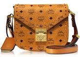MCM Cognac Patricia Studded Outline Visetos Small Shoulder Bag