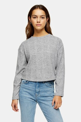 Topshop PETITE Gray Split Back Cut and Sew Sweater