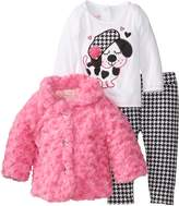 Nannette baby Girls' 3 piece Faux Fur jacket set