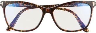 Tom Ford 55mm Blue Light Blocking Cat Eye Glasses with Clip-On Sunglasses Lens