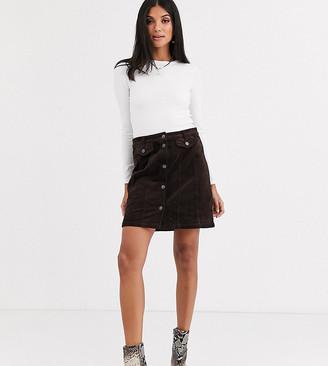 Vero Moda Tall cord mini skirt in chocolate-Brown