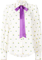 Marc Jacobs rose fill coupe tie neck blouse