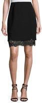 J. Mendel Layered Lace & Crepe Skirt, Black (Noir)