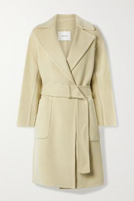 Vince Belted Brushed Wool-blend Coat - Beige