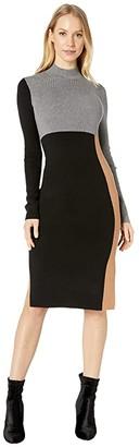 BCBGMAXAZRIA Color-Block Sweaterdress (Black Combo) Women's Dress