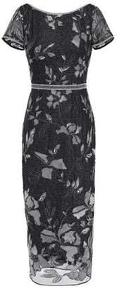 Marchesa Embellished Embroidered Tulle Midi Dress