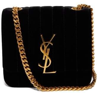 Saint Laurent Vicky Small Quilted-velvet Cross-body Bag - Womens - Black