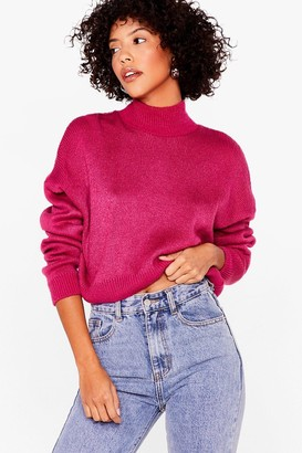 Nasty Gal Womens In Our Comfort Zone High Neck Knit Sweater - Fuchsia