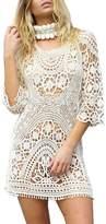 Yonala Womens Lace Floral Hollow Out Swimwear Bikini Cover Up Beach Dress