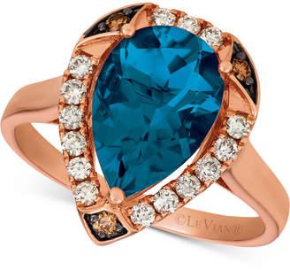 LeVian Le Vian Ocean Blue Topaz (3-1/10 ct. t.w.) & Diamond (1/3 ct. t.w.) Statement Ring in 14k Rose Gold