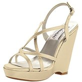 Dyeables Dyeables, Inc Women's Dee Wedge Sandal, Silver, 6 M US