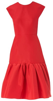 Carolina Herrera Ruffle Silk Cocktail Dress