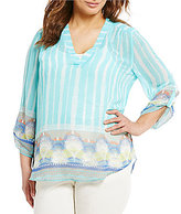 Multiples Plus Roll-Tab Sleeve V-Neck Border Print Tunic and Cami