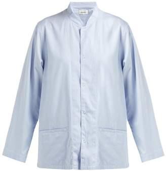 Chimala Houndstooth Check Mandarin Collar Cotton Shirt - Womens - Light Blue