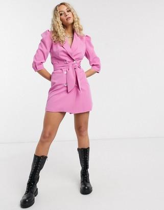 Bershka puff sleeve blazer dress in pink