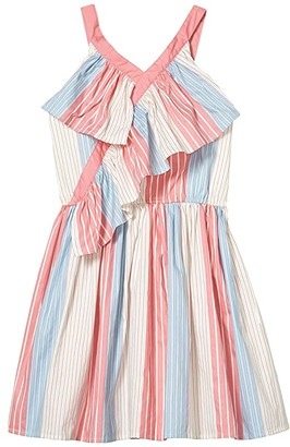 BCBG Girls Printed Cotton Mixed Stripe Dress (Big Kids) (Ice Pink) Girl's Clothing