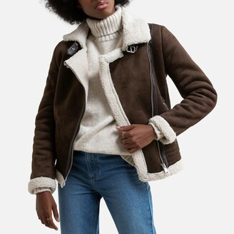 Only Faux Leather Aviator Jacket with Sherpa Lining