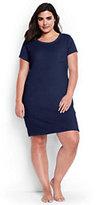 Lands' End Women's Plus Size Terry T-shirt Dress Cover-up-Scuba Blue