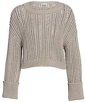 Brunello Cucinelli Women's Chunky Open-Weave Cropped Sweater