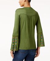 NY Collection Petite Embroidered Bell-Sleeve Top