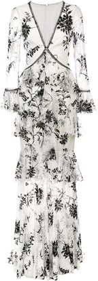 Marchesa embroidered floral lace dress