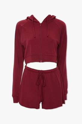 Forever 21 Zip-Up Hoodie Shorts Set