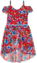 Amy Byer Floral-Print Off-The-Shoulder Floral Dress, Big Girls (7-16)