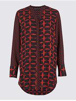 M&S Collection Geometric Print Notch Neck Tunic