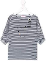 Familiar stripe shirt with faux necklace detail