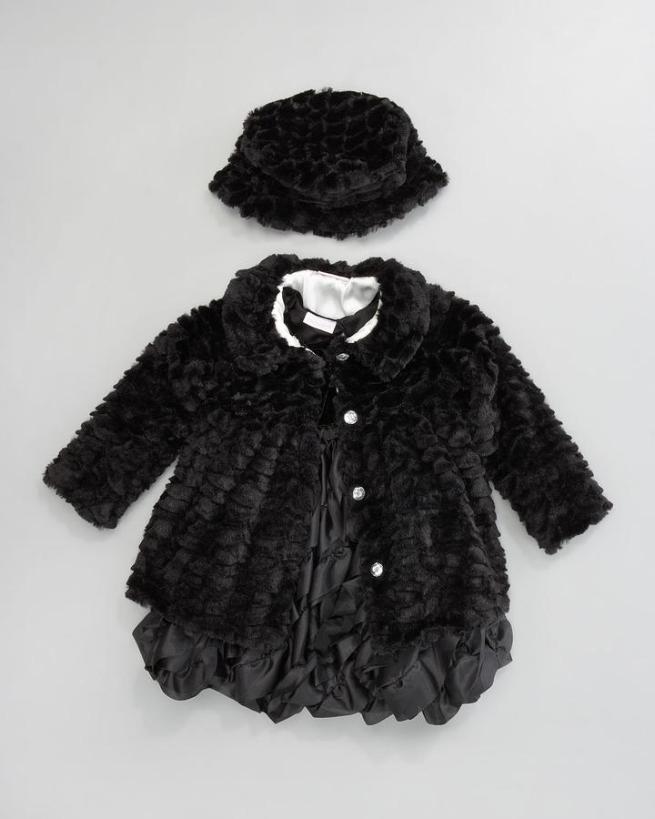 cachcach Black Tie Faux-Fur Coat, 12-24 Months