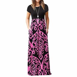 NEEDRA SALES ITISME Women's Long Sleeve Vintage Dot Printed Patchwork Pockets Plus Size Loose Dress