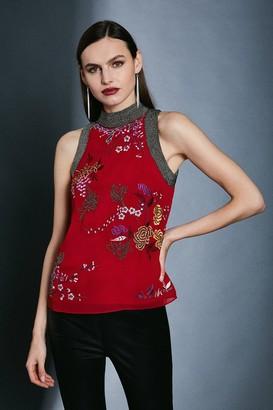 Karen Millen Embroidery Bead Detail Halter Top