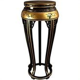 Oriental Furniture Unique Modern Decor 36-Inch Ming Lacquer Side Table Plant Stand, Gold with Birds and Flowers
