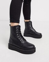Asos DESIGN Alva chunky lace up ankle boots in black