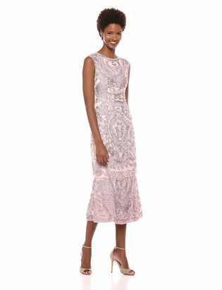 JS Collections Women's Midi Length Ribbon Embroidered Dress