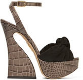 Charlotte Olympia Vreeland Croc-effect Leather And Suede Platform Sandals - Dark gray
