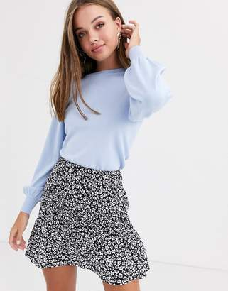 New Look puff sleeve sweater in pastel blue