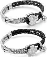 Aroncent 2pcs Womens Leather Bracelet Stainless Steel Heart Charm Braided Clover Cuff - Black