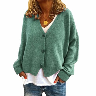 Timagebreze Woman Autumn and Winter Popular Casual Loose Sweaters Cardigan Button V-Neck Long Sleeves Cardigans Green L