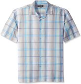 Stacy Adams Men's Big-Tall Linen Blend Yarn Dyed Print Short Sleeve Shirt