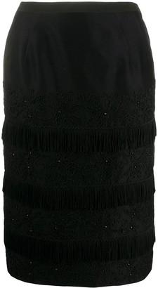 A.N.G.E.L.O. Vintage Cult 1960s Panelled Tweed Fringe Skirt