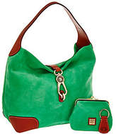 Dooney & Bourke As Is Suede Hobo with Logo Lock and Accessories