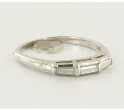 575 Denim excellent (EX) Vintage 14k White Gold Diamond Stack Bridal Band - Size