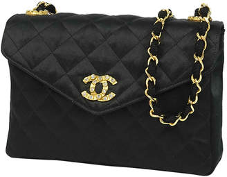Chanel Black Quilted Satin CC Shoulder Bag