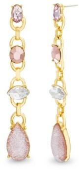 Catherine Malandrino Women's Pink And White Rhinestone Yellow Gold-Tone Drop Earrings