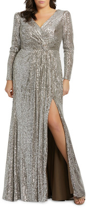 Mac Duggal Plus Size Sequin V-Neck Long-Sleeve Column Gown w/Thigh Slit