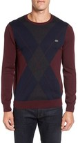 Lacoste Men's Argyle Front Crewneck Sweater